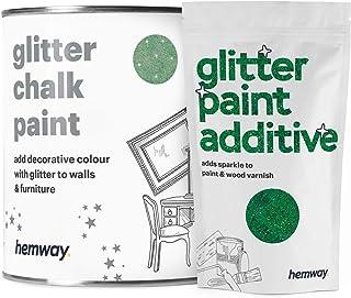 Hemway - Pintura de tiza de oliva (con purpurina) acabado mate brillante para paredes y muebles 1 litro estilo Shabby C...