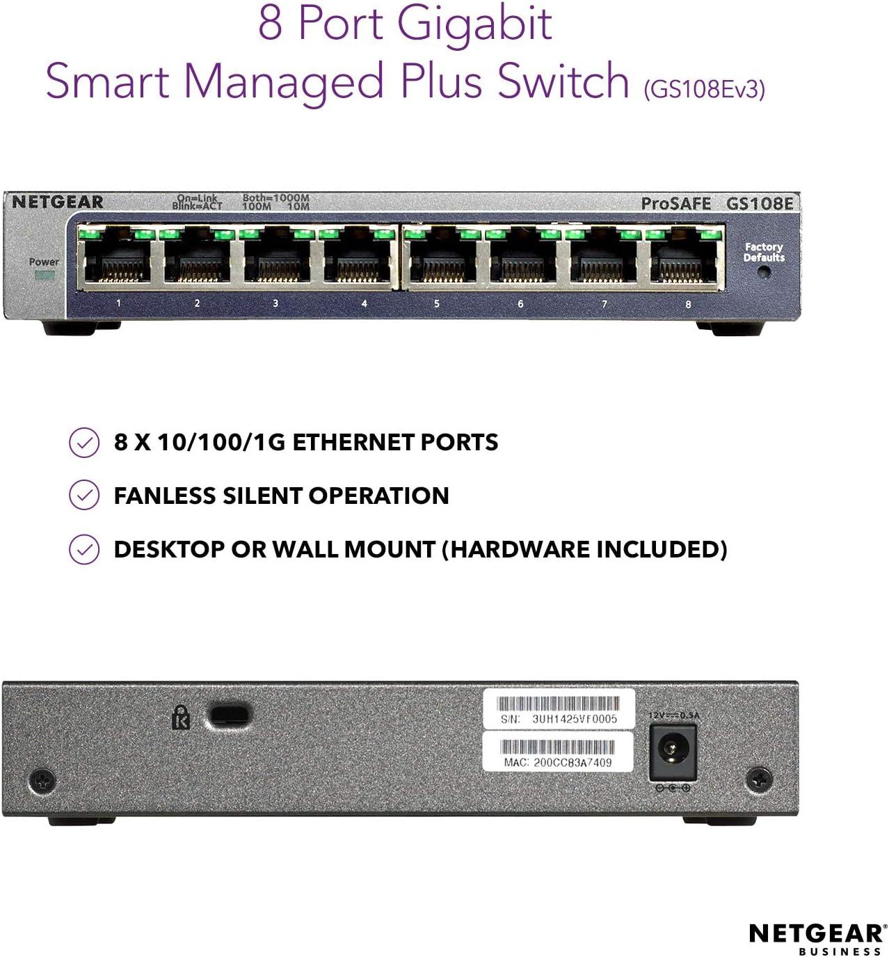 Netgear Gs108e 300pes Gs108ev3 Prosafe 8 Port Gb Computers Accessories