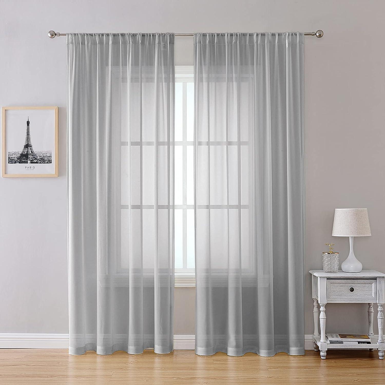 Voile Sheer Window Curtain Panels 2 PK Rod Pocket Drapes Light Filtering Privacy for Living Room, Bedroom Semi Home Decor Light Grey 52