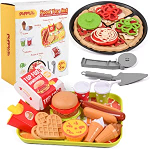 Puppyoyo 43PCS Play Food Sets for Kids Kitchen, Pretend Play Toy Foods with Fast Food Pizza Variety Toys Gift for Kid, Play Kitchen Accessories