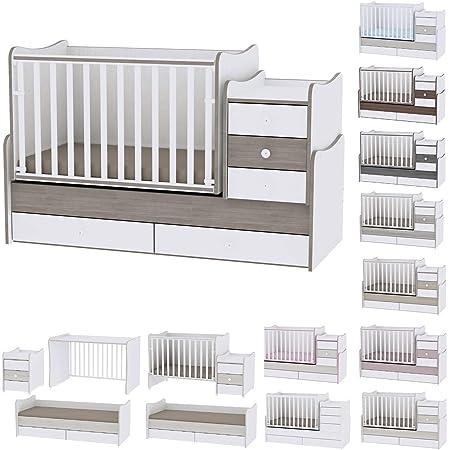 Lit bébé évolutif/ combiné Maxi Plus blanc/café Lorelli (Le lit se transforme en lit d'adolescent, bureau, armoire multifonction)