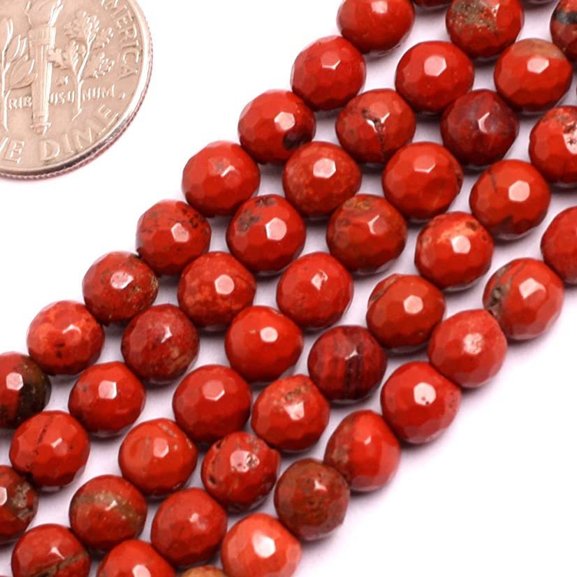 GEM-inside 6mm Faceted Red Jasper Gemstone Loose Beads Round Beads for Jewelry Making Jewelry Beading Supplies for Women