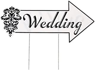 """Plastic Wedding Directional Sign - 20 1/2"""" X 9 1/2"""" Sign Is on a 16"""" Metal Stake."""