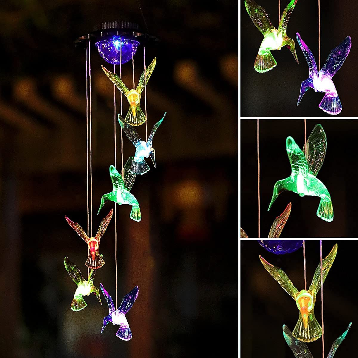 Suimeite Solar Hummingbird Wind Chimes,Color Changing Outdoor Hanging Decorative for Home Party Yard Garden,Gifts for Mom Birthday (1 Pack)