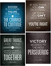 Historical Quote Motivational Posters; Success Wall Art Inspired by Famous Leaders and Thinkers, 8x10 Inch, Set of 4