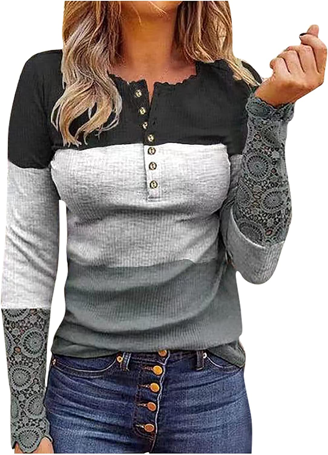 Kanzd Womens Tops Long Sleeve Shirts Color Block Sexy Lace Stitching Sweatshirts Trendy Button Blouse Tunic T Shirts Tops