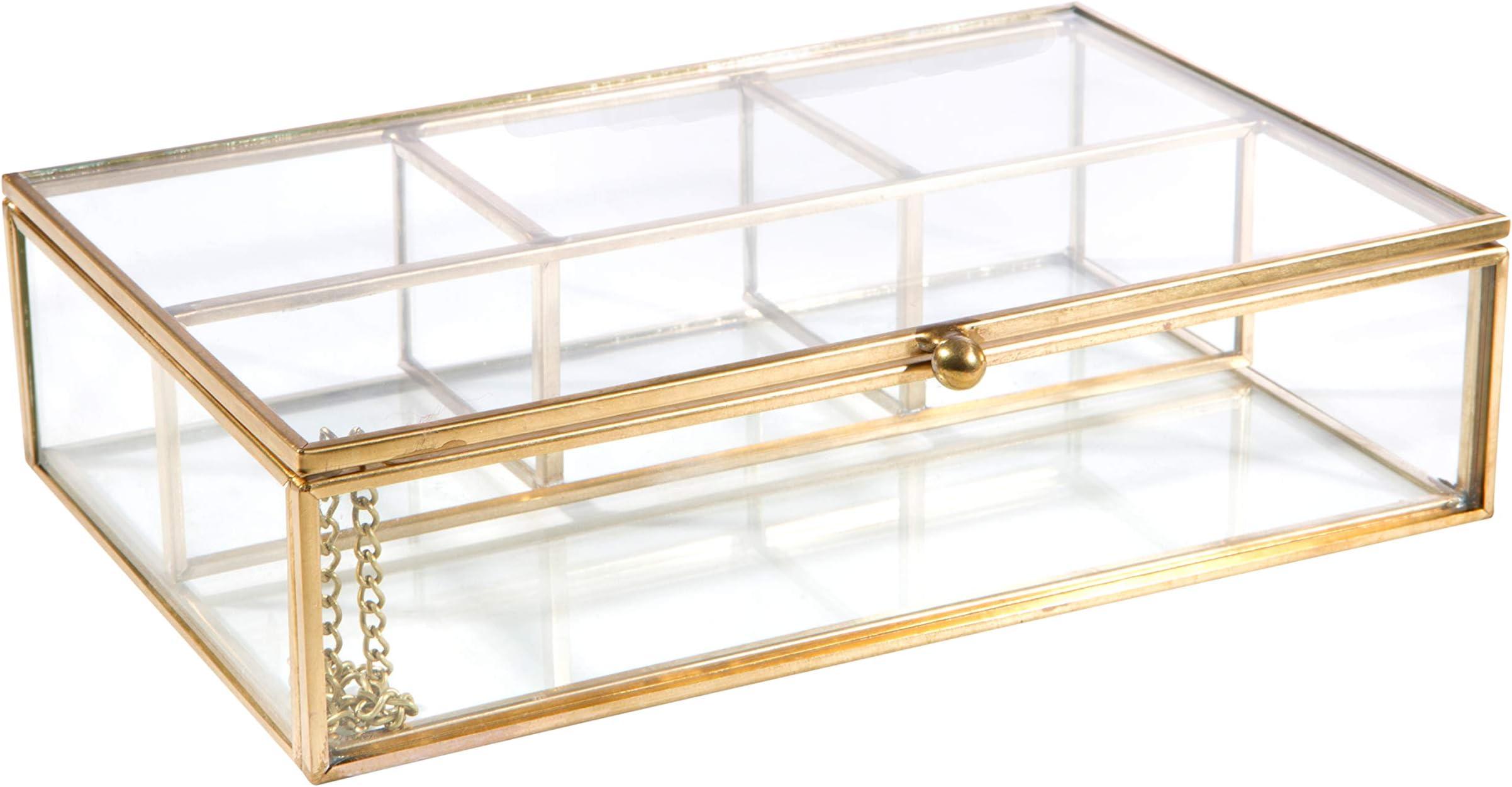 1049 Vintage 1940s era Gold Die Cast Floral Themed Jewellery Keepsake Box w Hinged Lid