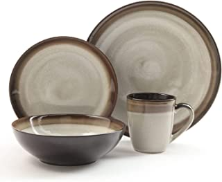 Gibson Elite Couture Bands 16-Piece Dinnerware Set, Brown