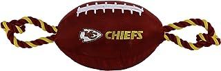 لعبة كرة القدم NFL KANSAS CITY تشيفز للكلاب، مواد متينة من النايلون عالية الجودة مع حبل سحب قوية وصرير داخلي بلون فريق NFL