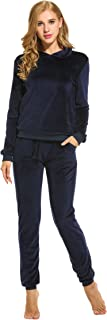 Women's Solid Velour Sweatsuit Set Hoodie and Pants Sport Suits Tracksuits
