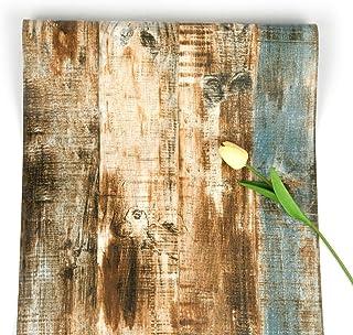 Papel Pintado de Madera Papel Pintado de Madera Autoadhesivo Papel Pintado de Cáscara y Palo de Madera Oxidado Papel Pintado Extraíble para Gabinete de Puerta Dormitorio Cocina 45*500cm