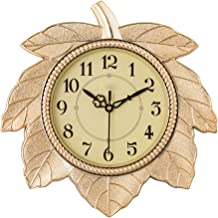 eCraftIndia Retro Leaf Shape Plastic and Glass Wall Clock (27.9 cm x 2.5 cm x 27.9 cm, Golden)