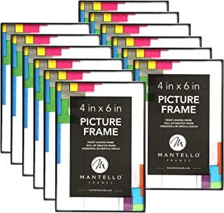 Mantello 4x6 Inch Picture Frame,12-Pack, Black, Front Loading Design