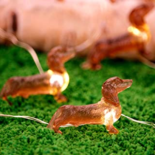 Impress Life Pet Theme Decorative String Lights, 10ft 30 LED Dachshund Dog Twinkle Lights, USB Battery Operated with Remot...