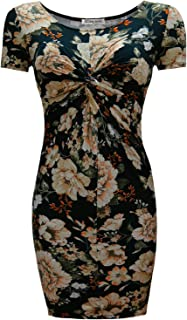 TAM WARE Women's Twist Front Knot Short Sleeve Floral Bodycon Mini Dress