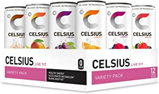 CELSIUS Fitness Drink 9-Flavor Variety Pack, ZERO Sugar, 12oz. Slim Can, 12 Pack
