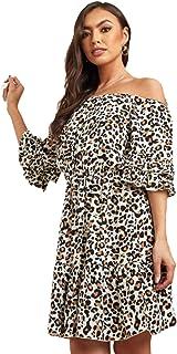Leopard Print Frill Sleeves Skater Dress