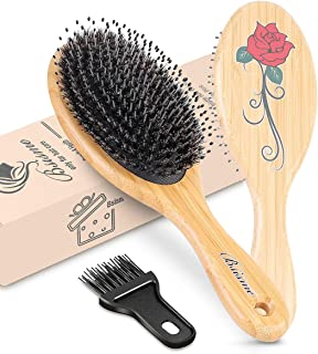 Bsisme Hair Brush-Oval Boar Bristle Hair Brush With Nylon Pins Bamboo Paddle Detangler Brush for Women Men Kids Fine Thin Normal Hair Daily Use for Improving Hair Texture Building Healthy Hair