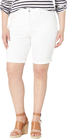 Plus Size Briella Roll Cuff Shorts in Optic White
