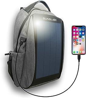 Mochila Impermeable con Panel Solar, Bolsa portátil con Paneles solares Flexibles y potentes para una Carga Solar rápida Incl Puerto USB Externo, células solares Resistentes a los arañazos, Gris