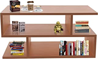 Klaxon S Shape Engineered Wood Coffee Table/Centre Table, Tea Table (Cherry)