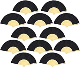 Leehome Folding Hand Fans Women - 12pcs Silk Bamboo Chinese Japanese Handheld Fan Church Wedding Gifts, Party Favors, DIY Decorations. (Black)