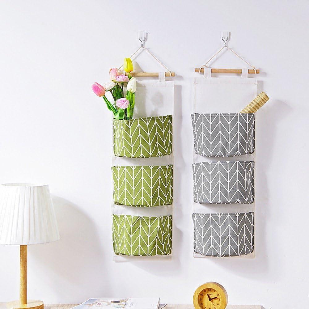 organizador de pared para cocina 5 bolsas de almacenamiento para colgar en la pared tela de lino y algod/ón organizador de bolsillo para colgar ba/ño dise/ño vintage 16 x 13 x 7 cm dormitorio