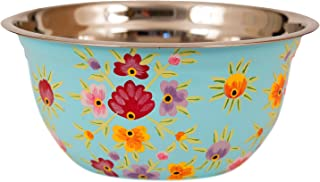 Hand Painted Stainless Steel Bowl – Large Salad Bowl, Fruit Bowl, Mixing Bowl, Decorative, Handmade Floral Art Bowl for Serving and Home Decor, 10 Inch Diameter, 3.8 quart Volume (blue)