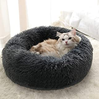 Cat Beds for Indoor Cats, Machine Washable Dog Bed for Small Dogs, Round Fluffy Donut Cuddler Calming Pet Bed, Anti-Anxiet...