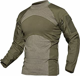 TACVASEN Men's Slim Fit Military Rapid Assault Shirt Tactical Military Camo Long Sleeve Shirts