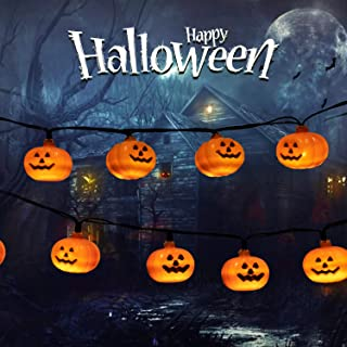 Minetom Halloween String Lights, 20 LED 11.5Ft Battery Operated Pumpkin String Lights with 2 Light Modes for Outdoor & Indoor Halloween Party Decorations