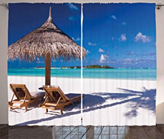 Ambesonne Landscape Curtains, Island Caribbean Honeymoon Themed Beach Seashore Ocean Print, Living Room Bedroom Window Drapes 2 Panel Set, 108