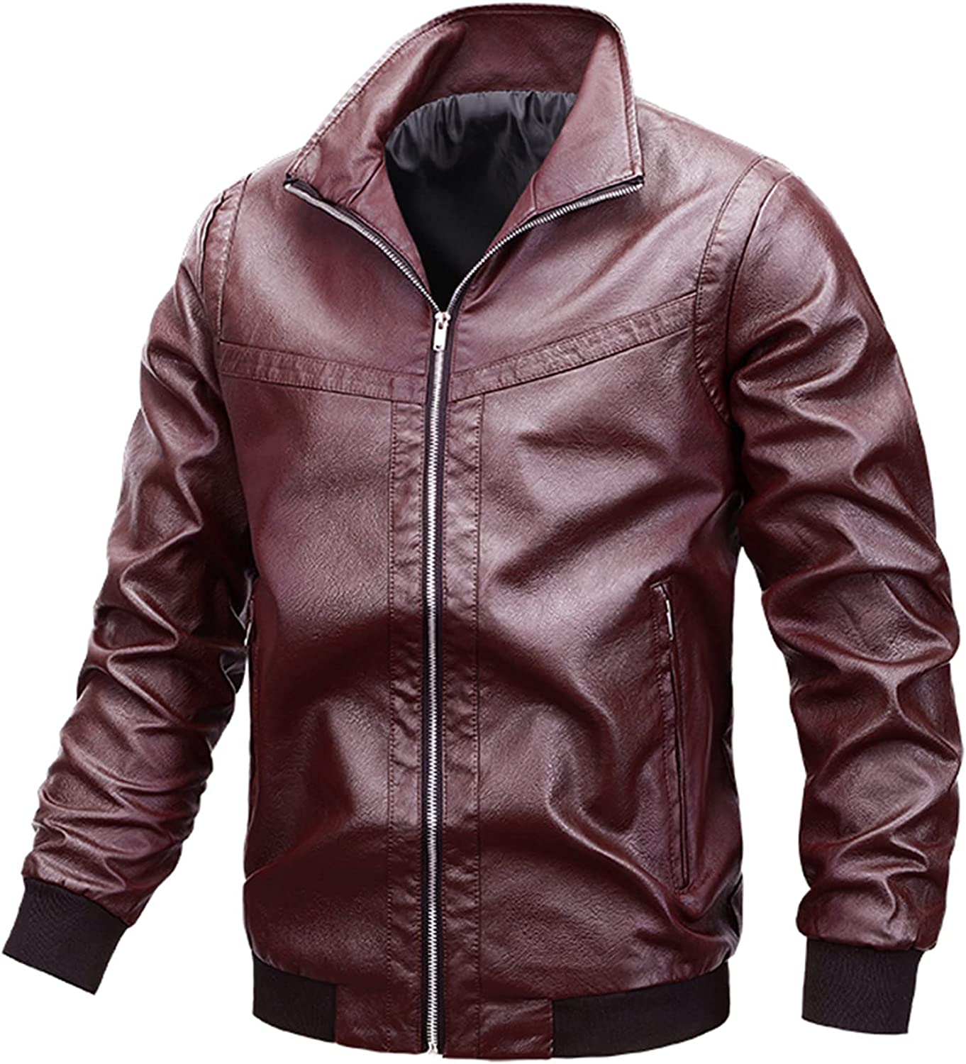 Jacket for Men's Leather Coat Fashion Fall Winter Lapel Zipper Plus Size Faux Leather Motorcycle Bomber Outwear