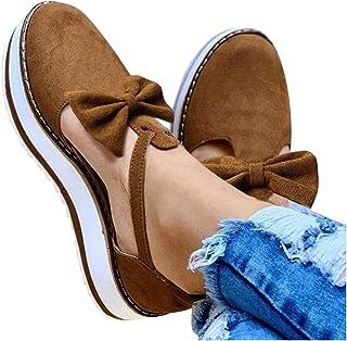 Kledbying Women's Platform Shoes T-Strap Tassel Closed Toe Cutout Comfort Flat Sneakers Slip On Wedges Shoe