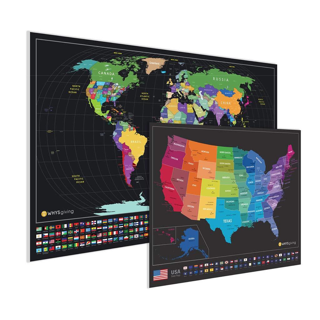 Scratch off Mapa del mundo con banderas de Estados Unidos mapa y país – un seguimiento de tus viajes y recuerdos: Amazon.es: Oficina y papelería