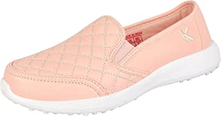 KazarMaxWomen's Faux Leather Pink Quilted Slip on Walking Sneakers