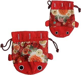 Daiso Pouch goldfish Japanese Pattern (kingyo Kinchaku) Bag 2 Piece Set