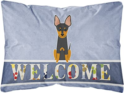 Amazon Com Caroline S Treasures Bb5609pw1216 Manchester Terrier Welcome Canvas Fabric Decorative Pillow 12h X16w Multicolor Garden Outdoor