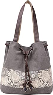 YOUBAMI Tote Bag for Women, Canvas Printing Drawstring Weaving Harness Pocket Casual Multifunctional Duffel Carrying Lapto...