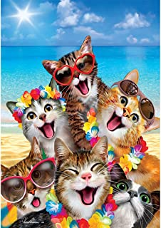 Custom Decor Beach Kittens - Standard Size, Decorative Double Sided, Licensed and Copyrighted Flag - Printed in USA Inc. 28 Inch X 40 Inch Approx.