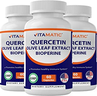3 Pack - Vitamatic Quercetin, Olive Leaf Extract, with Bioperine for Greater Absorption, 910mg, 60 Capsules (Total 180 Cap...