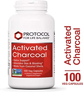 Protocol For Life Balance - Activated Charcoal - Detox Support, Helps Alleviate Gas & Bloating, Made from Coconut Shells - 100 Veg Capsules
