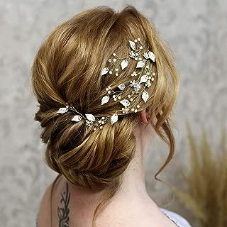 Aukmla Bride Wedding Hair Vines Crystals Rhinestones Hair Accessories White Pearls Jewelry Hair Piece for Bride and Bridesmaids HV-23 (Silver)