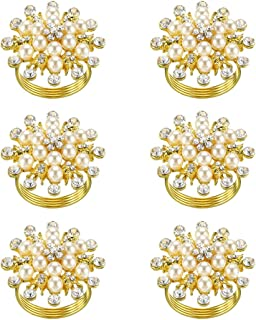 SCTD Napkin Rings Set of 6 - Round Flower Pearls Rhinestone Napkin Buckles Holder for Wedding Party Home Kitchen Dining Ta...