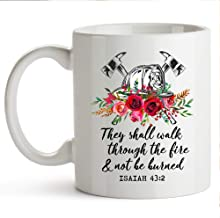 YouNique Designs Firefighter Cup 11 Ounce Firefighter Wife Gifts Fireman Wife Gifts Fire Wife Gifts