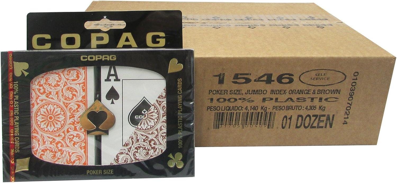 Copag Poker-Size Index Plastic Cards 12-Pack (24 Decks) orange Brown
