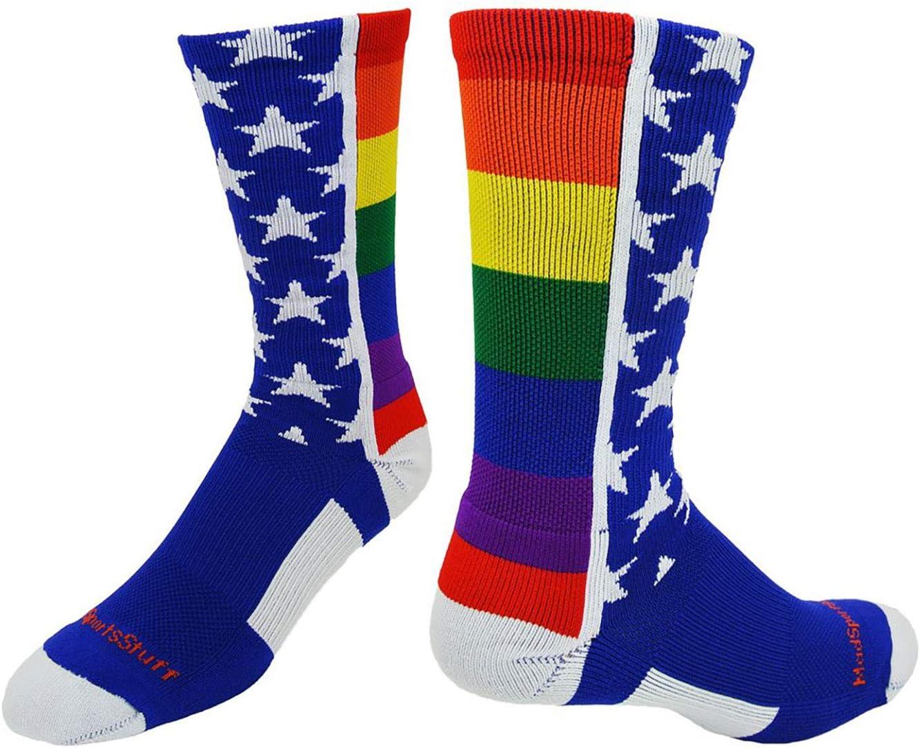 MadSportsStuff Rainbow Pride Crew Socks : Sports & Outdoors