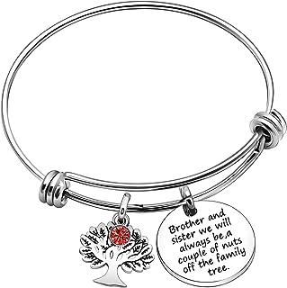 JJIA Brother Sister Bracelets Bangles for Women Men Birthday Gifts