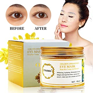 QueenAcc Collagen Eye Mask, Golden Osmanthus Eye Mask, Golden Osmanthus Moisturizing Eye Mask Anti-aging, Reduce Eye Dark Circles, Improve Eye Bags, Lighten Eye fine wrinkles (80 pcs)