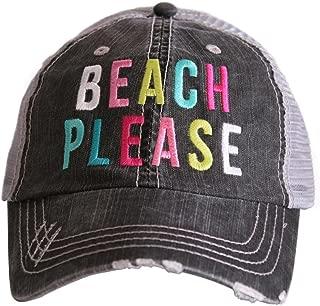 Beach Please Women's Colorful Print Distressed Grey Trucker Hat